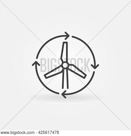 Wind Turbine With Arrows Line Icon. Wind Energy Symbol