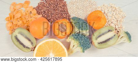 Nutritious Products Containing Vitamin Pp And Other Natural Minerals, Concept Of Healthy Eating And