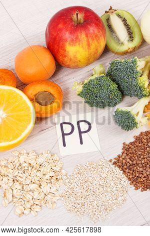 Nutritious Natural Ingredients Containing Vitamin Pp, Dietary Fiber And Minerals, Concept Of Healthy