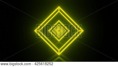 Image of multiple glowing neon green diamond shapes moving on seamless loop. colour and movement concept digitally generated image.