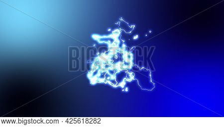 Glowing blue and white bundle of lively electrical current moving on blue background. energy, nature, electricity, light and movement concept, digitally generated image.
