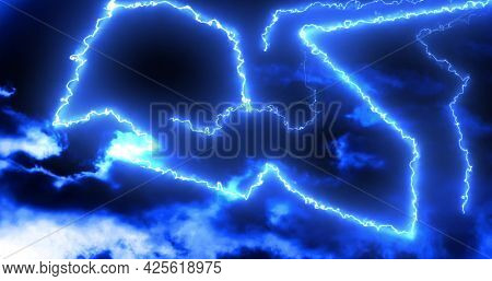 Glowing blue lightning bolts of electrical current moving wildly on dark sky background. energy, electricity, light and movement concept, digitally generated image.