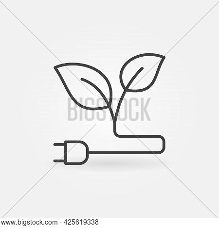 Green Energy Linear Icon. Eco Plug With Leaves Symbol