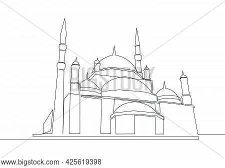 One Single Line Drawing Of Islamic Historical Dome Landmark Masjid Or Mosque. Holy Place To Prayer F
