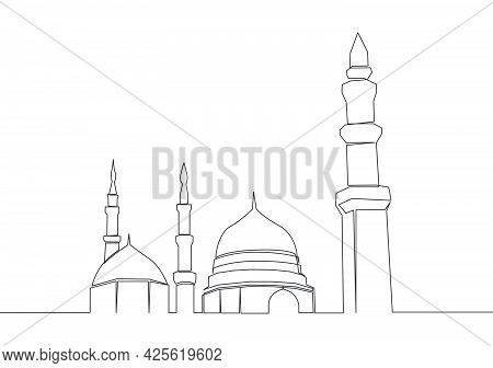 One Continuous Line Drawing Of Historical Landmark Dome Mosque Or Masjid An Nabawi. Ancient Building