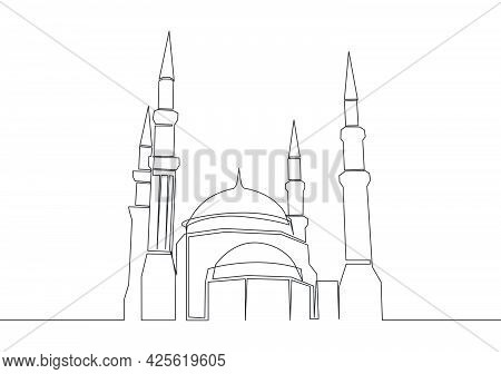 Single Continuous Line Drawing Of Muslim Historical Landmark Masjid Or Mosque. Historical Constructi