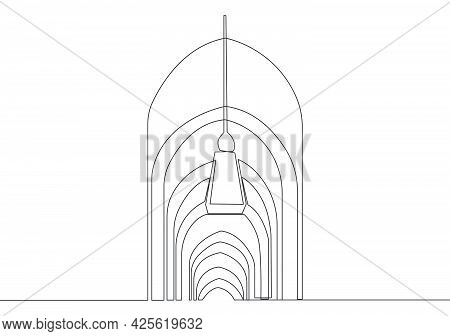 One Single Line Drawing Of Islamic Historical Dome Masjid Or Mosque Ornament Decoration. Holy Place
