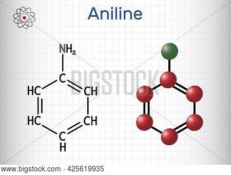 Aniline, Phenylamine, Aminobenzene, Benzenamine, C6h5nh2 Molecule. It Is Primary Arylamine, Aromatic