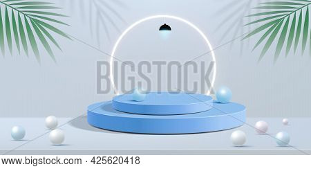 Abstract Minimal Scene On Blue Pastel Background With Cylinder Podium And Leaves. Abstract Backgroun