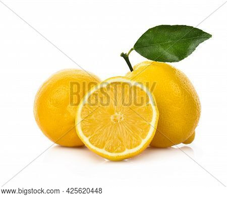 Close Up Of Lemon Isolated On White Background