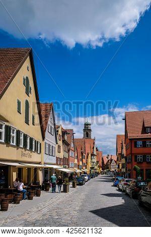 Dinkelsbuhl, Germany - July 2, 2021: Oldtown Of Dinkelsbuhl, Bavaria, Germany