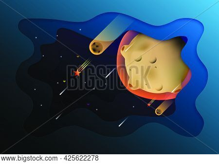 Abstract Papercut Background. Meteor And Space Design. Vector Illustrator