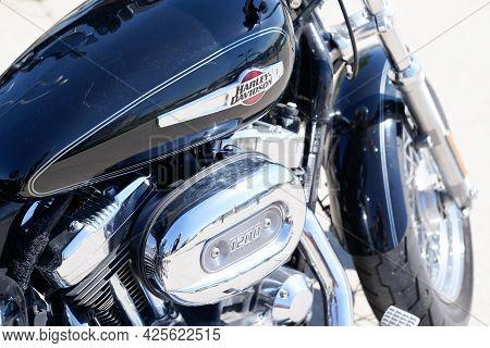 Sète , Ocitanie France  - 06 30 2021 : Harley-davidson Logo Text And Brand Sign Tank Fuel Black Deta