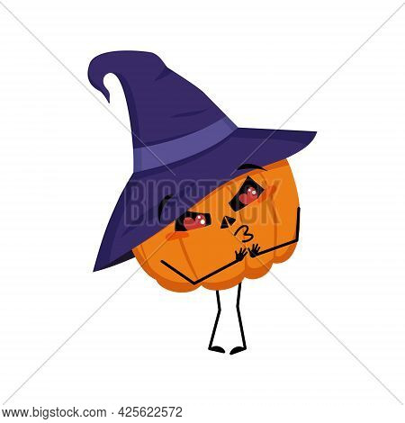 Cute Pumpkin Character In Pointed Hat Falls In Love With Eyes Hearts, Kiss Face, Arms And Legs. The
