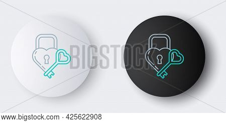 Line Castle In The Shape Of A Heart And Key Icon Isolated On Grey Background. Locked Heart. Love Sym