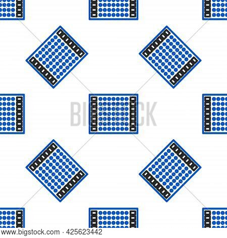 Line Printed Circuit Board Pcb Icon Isolated Seamless Pattern On White Background. Colorful Outline