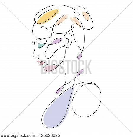 A Beautiful Girl Drawn In One Line With Partial Colored Spots. Design For Decor, Paintings, Tattoos,
