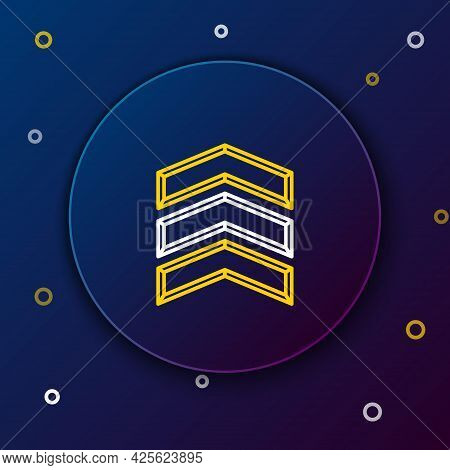 Line Military Rank Icon Isolated On Blue Background. Military Badge Sign. Colorful Outline Concept.