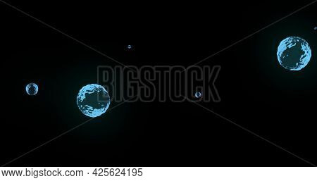 Image of multiple translucent blue bubbles floating across black background. colour and movement concept digitally generated image.