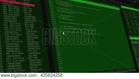 Image of data processing on green and grey computer screens. global technology data processing and computing concept digitally generated image.