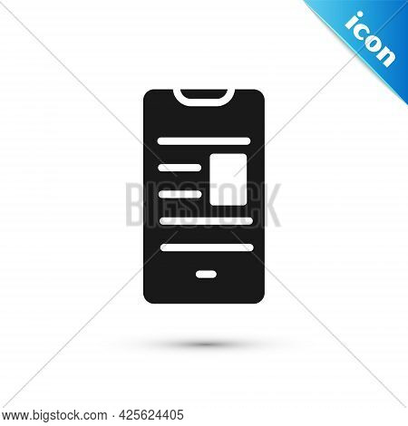 Grey Online Book On Mobile Icon Isolated On White Background. Internet Education Concept, E-learning