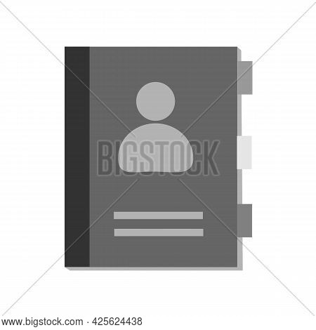 Phonebook Icon On White Background. Directory Contact Book Diary Sign. Contact Book Symbol. Flat Sty
