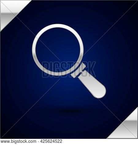 Silver Magnifying Glass Icon Isolated On Dark Blue Background. Search, Focus, Zoom, Business Symbol.
