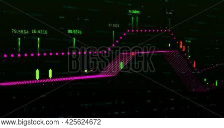 Image of a colourful graph with colourful numbers over a grid. Global economy stock market concept digital composition