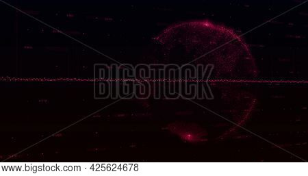 Image of a pink graph made of dots going up and down with pink blocks floating over a pink globe on black background. Global economy stock market concept digital composition
