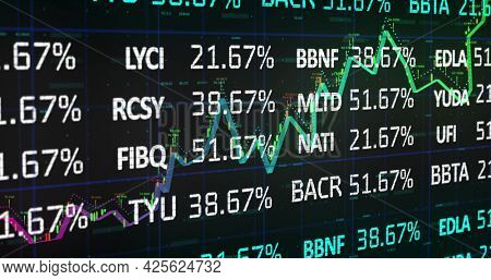 Image of white and blue stock market data rolling and processing over a grid. Global economy stock market concept digital composition