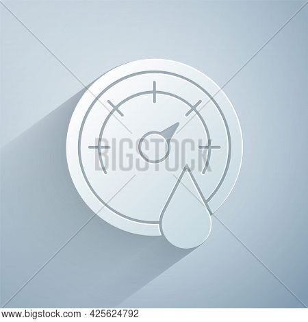 Paper Cut Sauna Thermometer Icon Isolated On Grey Background. Sauna And Bath Equipment. Paper Art St
