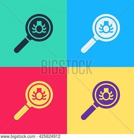 Pop Art Flea Search Icon Isolated On Color Background. Vector