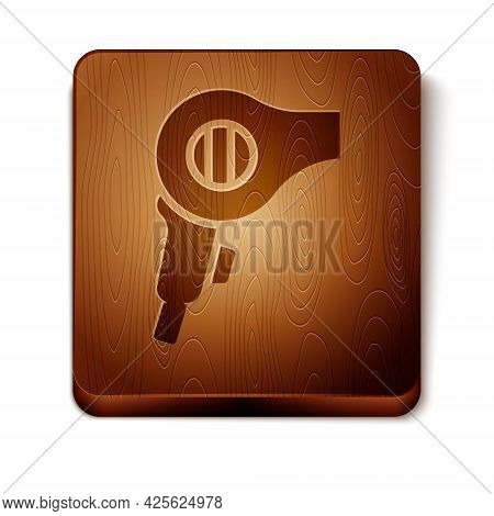 Brown Hair Dryer Icon Isolated On White Background. Hairdryer Sign. Hair Drying Symbol. Blowing Hot