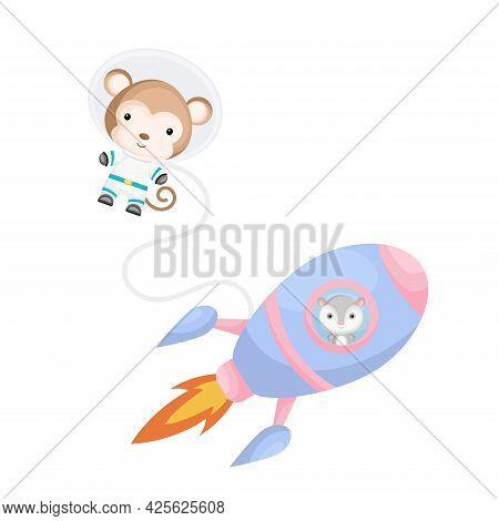 Cute Little Possum Flying In Blue Rocket. Cartoon Monkey Character In Space Costume With Rocket On W