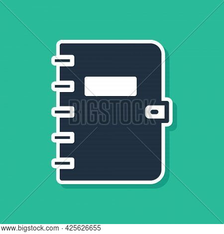 Blue Notebook Icon Isolated On Green Background. Spiral Notepad Icon. School Notebook. Writing Pad.