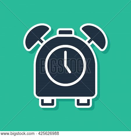 Blue Alarm Clock Icon Isolated On Green Background. Wake Up, Get Up Concept. Time Sign. Vector