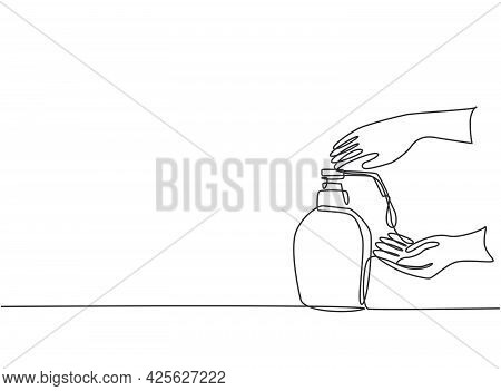 Single Continuous Line Drawing Hand Sanitizer Bottles Containing Cleaning Fluids Such As Alcohol To