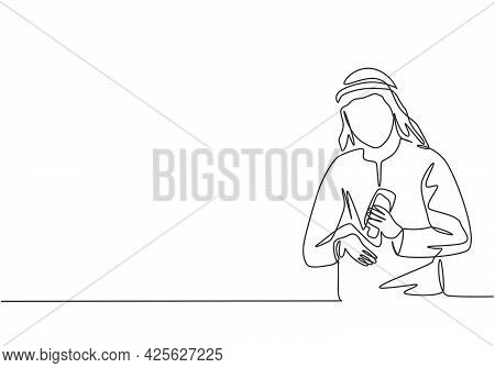 Single Continuous Line Drawing An Arab Male Pours Hand Sanitizer Into His Palms To Avoid Germs And B