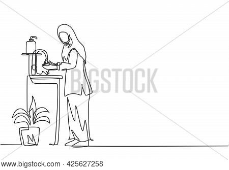Continuous One Line Drawing A Woman In A Hijab Washes Her Hands In The Sink, There Is A Soap Dish Ne