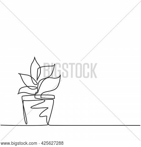 Single Continuous Line Drawing Potted Plants With Five Growing Leaves Are Used For Ornamental Plants