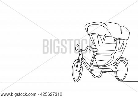 Single One Line Drawing Of Cycle Rickshaw With Three Wheels And A Rear Passenger Seat Is An Ancient