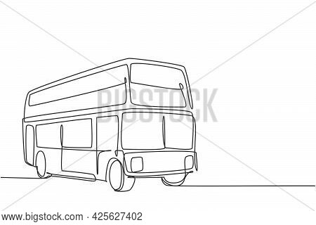 Continuous One Line Drawing Double Decker Buses Take Tourists Around The City To Enjoy Old City Tour