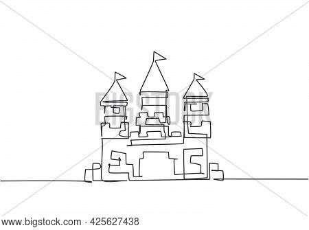 Single Continuous Line Drawing A Castle In An Amusement Park With Three Towers And A Flag On Each Ro