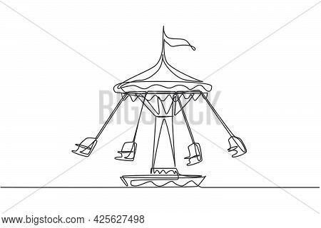 Continuous One Line Drawing Wave Swinger In The Amusement Park With Four Seats And A Flag Above. The