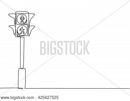 Single One Line Drawing Of Special Traffic Lights For Pedestrians Crossing The Highway Through The Z