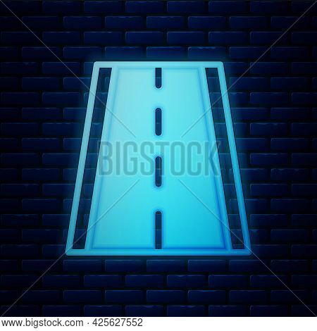 Glowing Neon Special Bicycle Ride On The Bicycle Lane Icon Isolated On Brick Wall Background. Vector