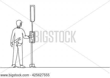 Single Continuous Line Drawing A Man Pushes A Button At A Traffic Light To Cross The Road On A Zebra