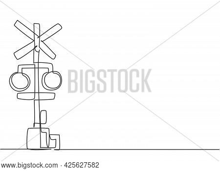 Single One Line Drawing Of Railway Barrier With Signs And Warning Lights In An Open Position That Al