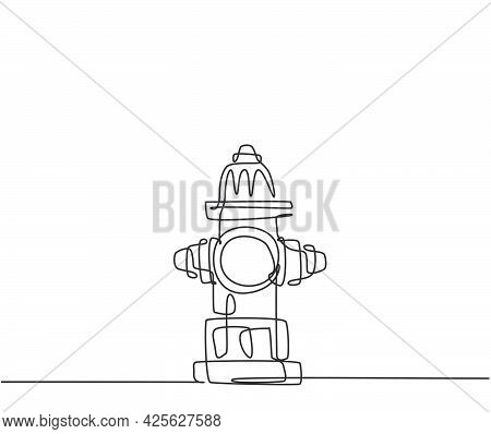 Single One Line Drawing Of The Hydrant On The Side Of The Road Is Used For Preventive Measures In Th