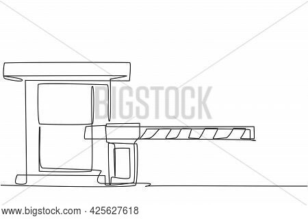 Single Continuous Line Drawing A Striped Barrier Gate With Guard Posts, Guarding The Entrance To The